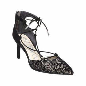 Sam & Libby Black Lace Point Toe Mid Heel Pump 7.5